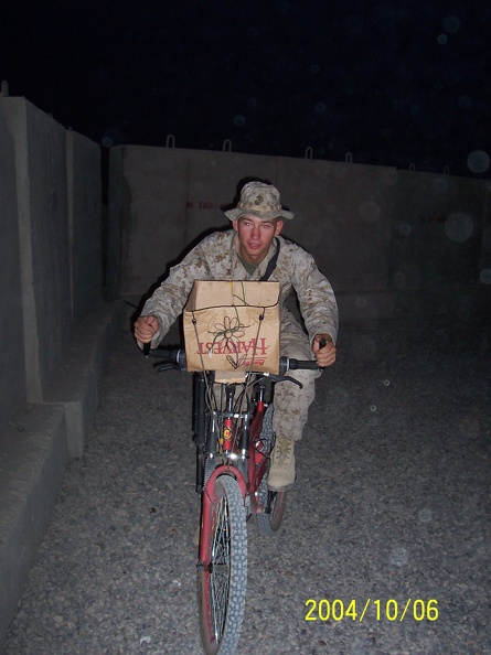 Sometimes, a bike with a cardboard box is all you need.  That, and a flower drawing.